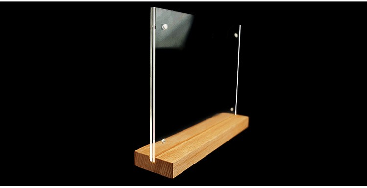 Fresh Horizontal Wooden Base Magnetic A5 Acrylic Sign Holder, View Wood  DG15