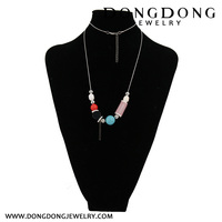 CL044 yiwu pearl turquoise jade stone pendant charm beads necklace fashion jewelry