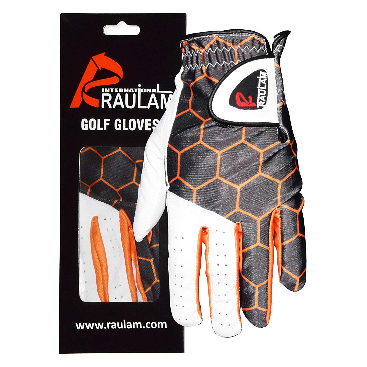 Golf Glove for Men and Women with Orange Sublimation, Left and Right Hand Golf Gloves, Genuine Cabretta Leather, Soft Flexible Durable and Comfortable-Golf Glove Men Left Hand/Right Hand By Raulam Int