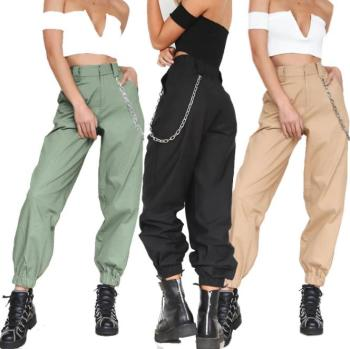 Popular Lady Personality Solid Color Sports Casual Women's Pants Harem Pants Punk Style Cargo Pants Belt Chain