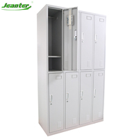 8 doors Steel Lockers Clothes Locker with Hanging Rod and Shelves
