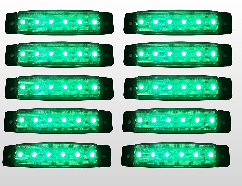 flexzon 10 Pcs Set 24V SMD 6 LED Rear Side Marker Light Position Truck Trailer Green