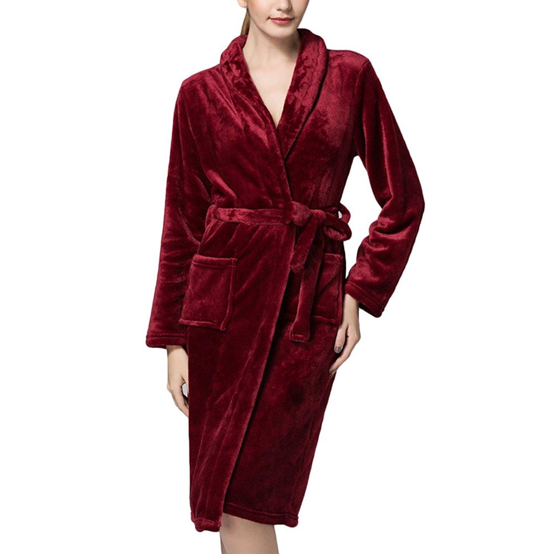 6f70342fec Get Quotations · Zhhlinyuan Womens Supersoft Warm Coral Fleece Bathrobes  Dressing Gown Bath Robe