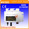 22-50VDC 260W waterproof grid tie micro inverter with MPPT function for 300W 36V PV modules, 47-62.5Hz pure sine wave inverter