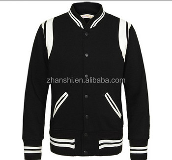 52e9e1e7cfc4 Latest Design Men s Wool Bomber Jacket Black White Contrast Varsity Jacket  With Leather Trim