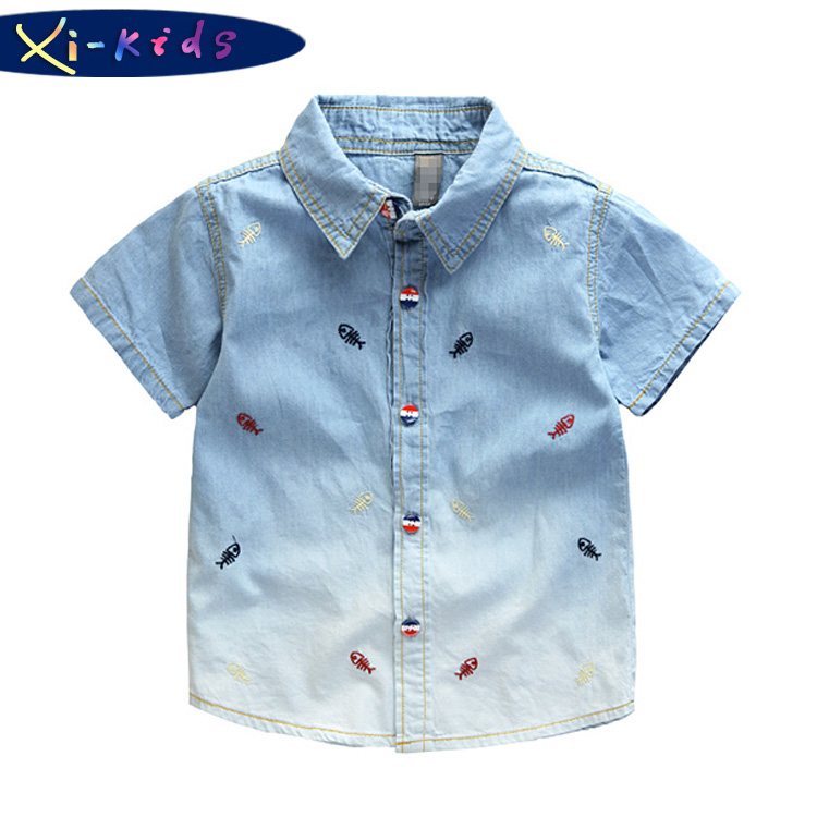 Get Quotations · Little Fish Gradient Baby Boy Shirt Designer Kids Wear  Boys Denim Shirt Boys Shirts Summer Kids 49b6ad99c6d0