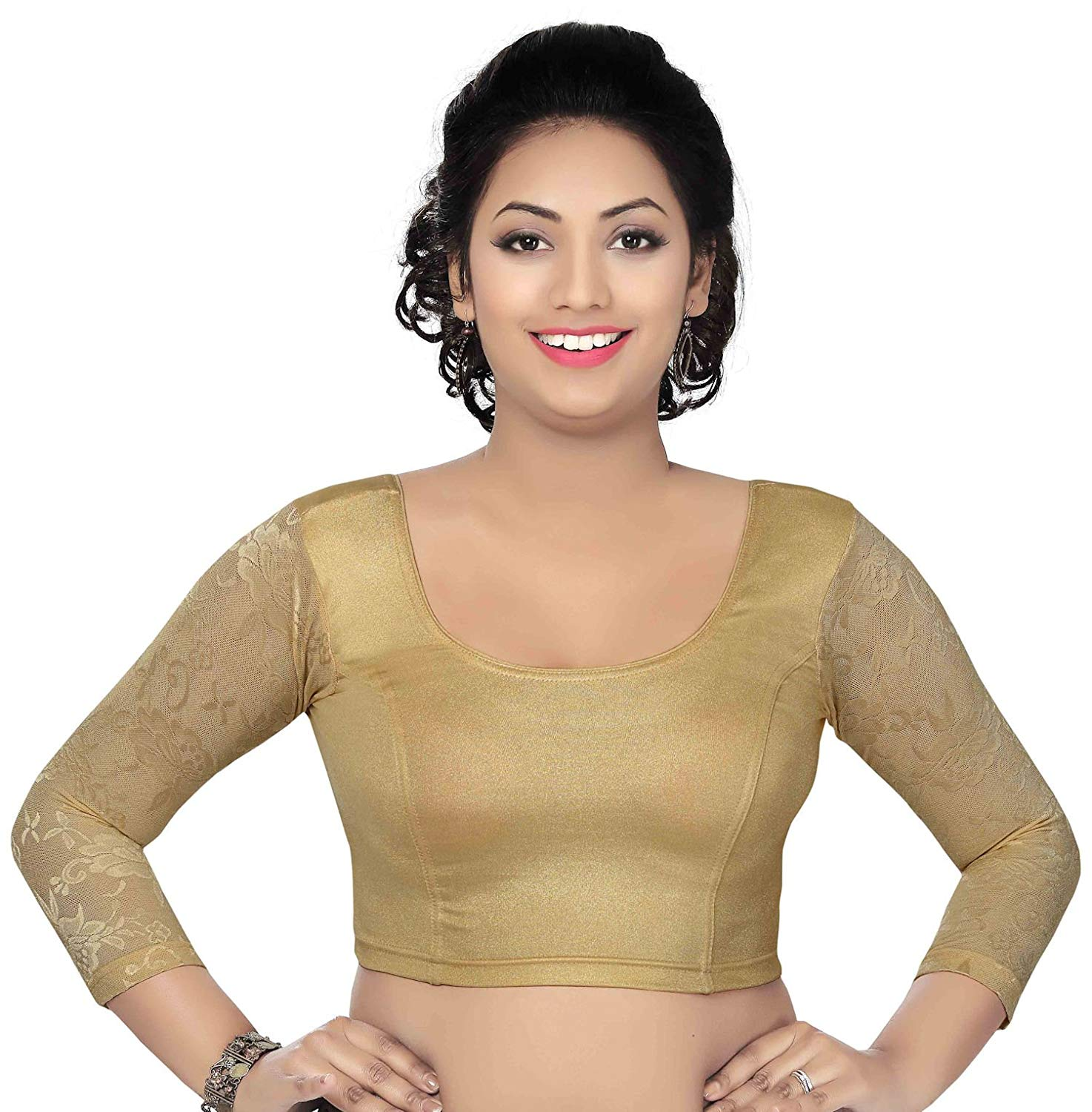 Women's Long Lace Sleeve Trendy Saree Blouse Colorful Lycra Crop Top Collection!