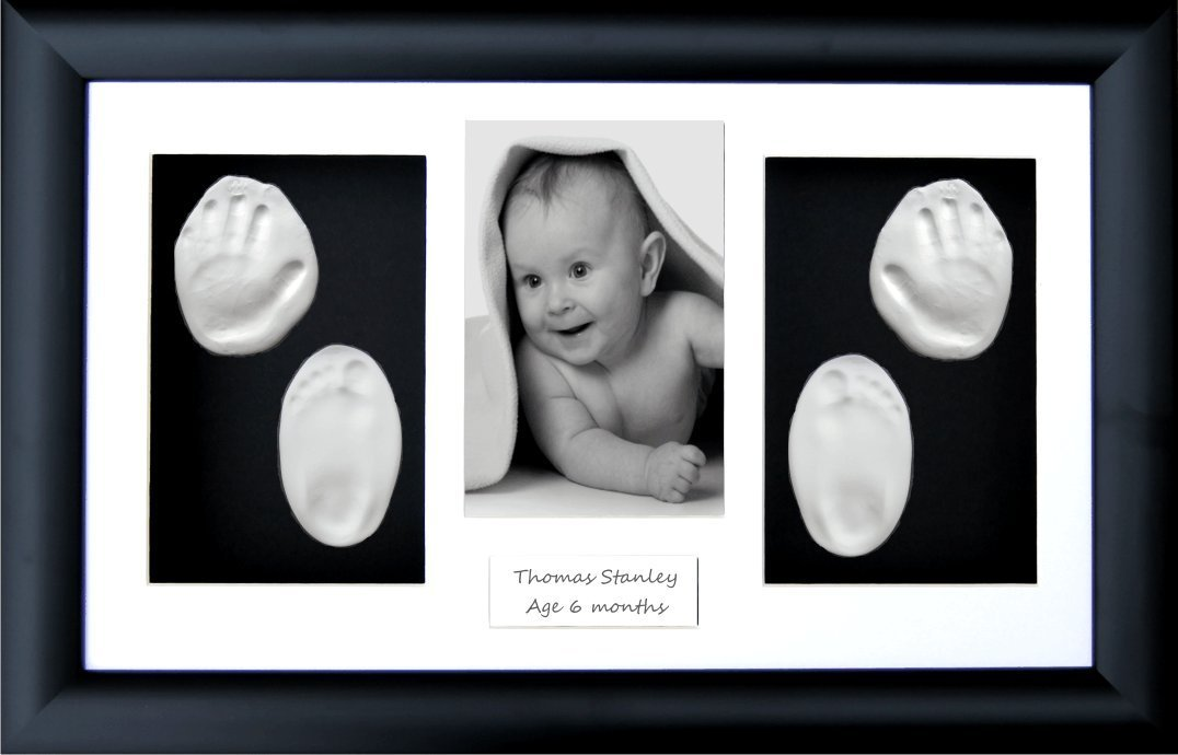 BabyRice New Baby Boy Girl Gift Handprint & Footprint Imprints Kit, Black Box Display Photo Frame