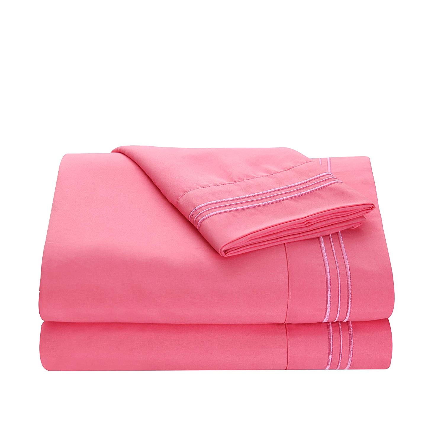 All American Collection New Soft, Bamboo Microfiber 3 Piece Twin Sheets (Pink)