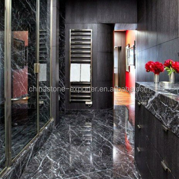 Black And White Marble Tiles Bathroom