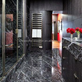 Black And White Marble Tiles Bathroom