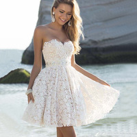 ZH1130F Sexy Wrap Bra Sleeveless Bridesmaid Dress White Strapless Lace Wedding Dress For Party