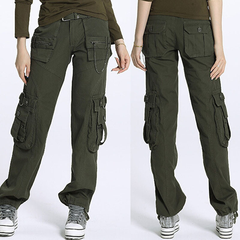New 2015 plus size Army Green Denim fatigue cargo pants ...