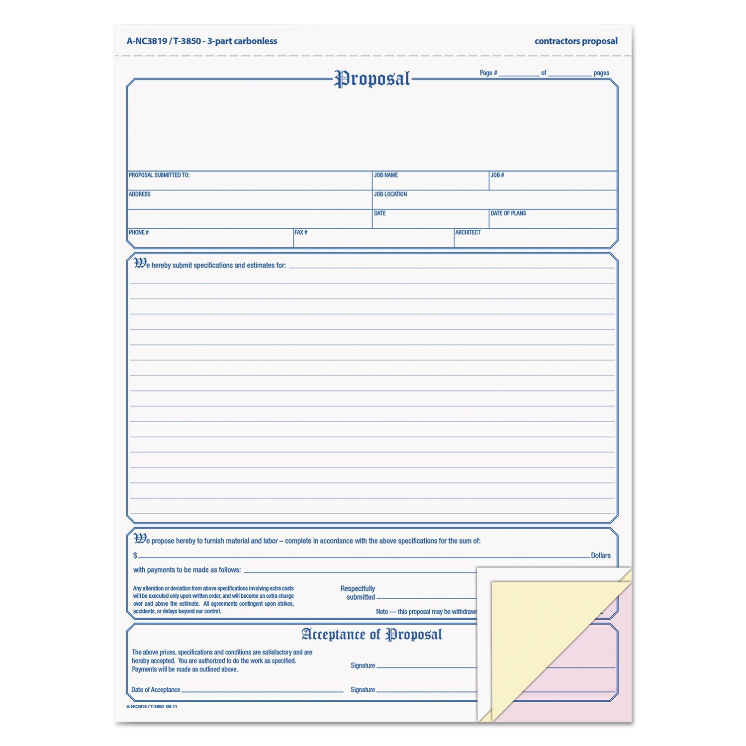 Adams NC3819 Contractor Proposal Form, 3-Part Carbonless, 8 1/2 x 11 7/16, 50 Forms