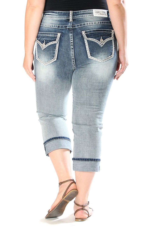 73e31c3c235 Get Quotations · Grace in LA Idol Jeans Plus Size Sequins Stitched Border  Capris Medium Wash