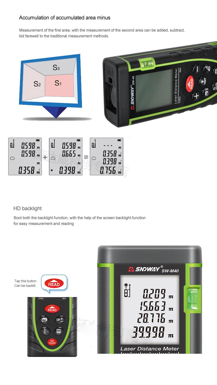 Sndway Sw M Seri 40 60 Oem Alat Ukur Jarak Digital Laser Distance Meter Pengukur 100 Rangefinder