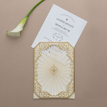 Personalized Art Deco Lace Laser Cut Wedding Invites Gatefold Laser Wedding Invitation Card Save The Date Rsvp Card Buy Gold Personalized Art Deco