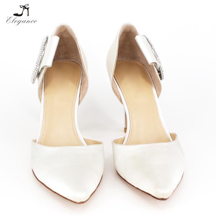 Leather Buckle Style Genuine 2018 Rhinestone Brial Stilettos Satin Upper Wedding Shoes Bow Crystal White Elegant nvXq8a