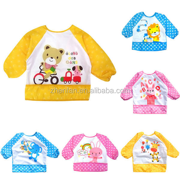 lovely cartoon pattern waterproof baby bib with long sleeves
