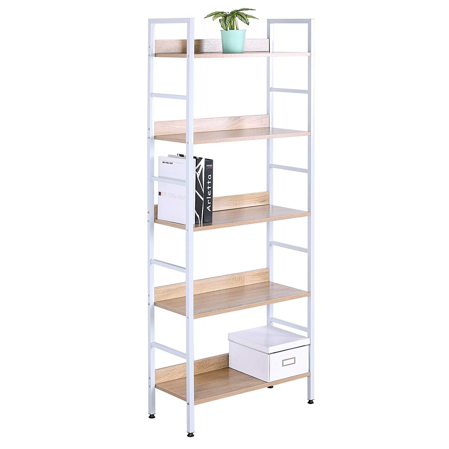 WOLTU 5 Shelves Bookshelf Wood Bookcases, Cabinets & Shelves for Corner and Library Bookcase Furniture Freestanding Display Shelf White Wood