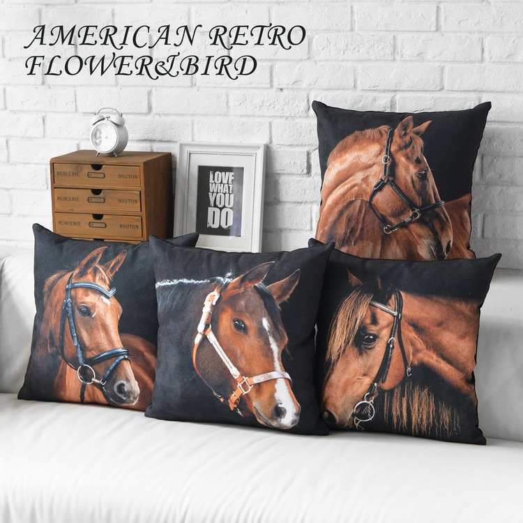 Wholesale European American Cushion Covers Horse pattern modern Cushions Home Decor minimalist black creative Decorative Pillow