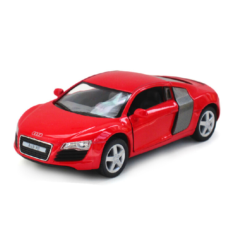 New Brand R8 GT Car Model 1:24 alloy Diecast Car Model front wheel controlled steering wheel doors opened decorations car toys