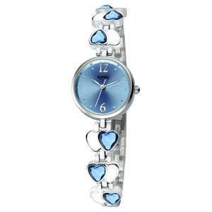 Clear Crystal women Jewelry wrist watch Vogue KIMIO heart shape ladies stainless steel bracelet bangle watch