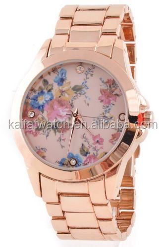 Adorable All Metal Band Geneva Vintage Floral Print Dial Women's Fashion Watch