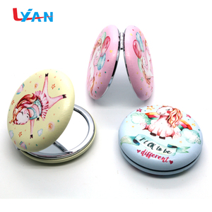 Custom made mini novelty Advertising gifts round glass cheap hand foldable makeup pocket mirrors