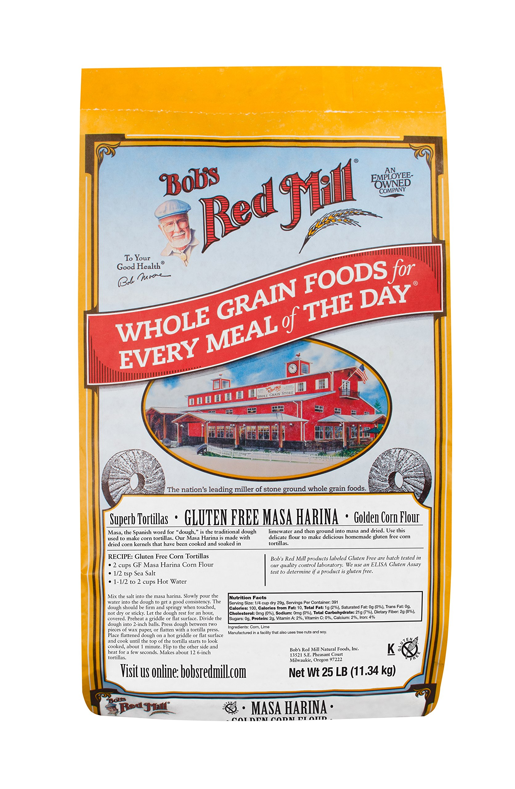 Bob's Red Mill Gluten Free Golden Masa Harina Corn Flour, 25 Pound