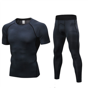 678b05f7 2019 Men's 2 Pack Sport Suits Short Sleeve T-shirt + Pants Fitness Tight  Running Set Quick-dry Compression Workout Sportswear
