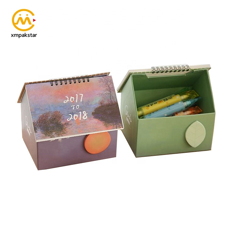 Luxury Recycle Custom Cute Personalized Small Paper House Shape Office Calendar Printing
