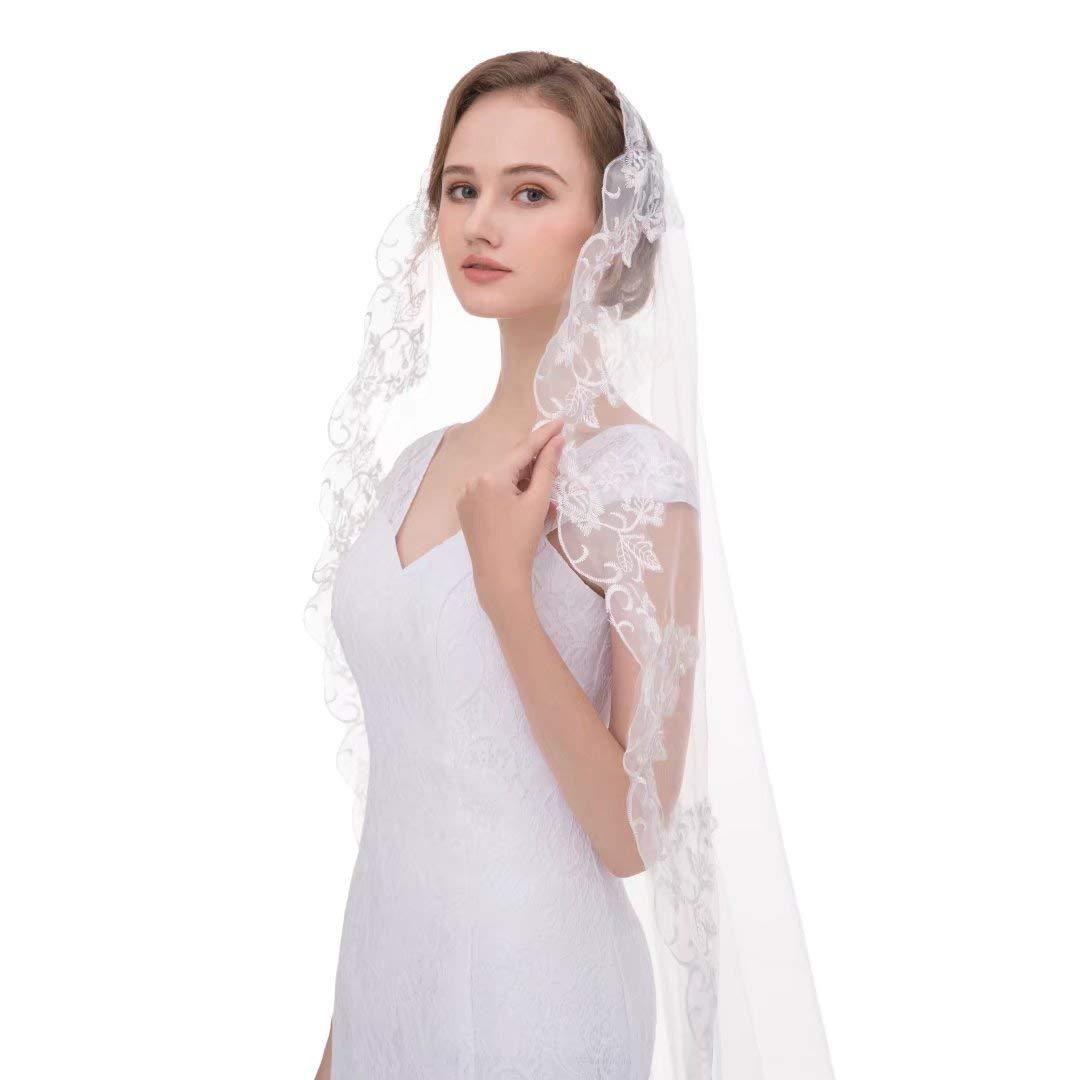 SABridal Long Catheral Lace Wedding Veil Without Comb Long Lace Edge Lace Bride Veil SABRVEIL029