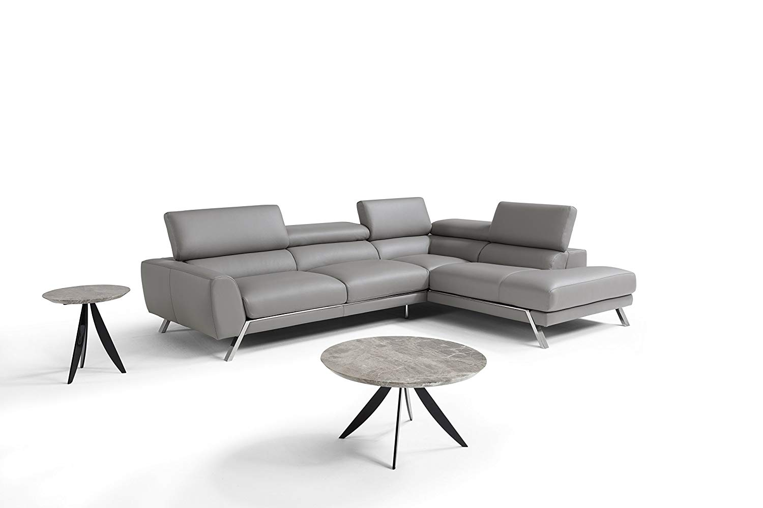 J and M Furniture 182883-RHFC Mood RHF Chaise 592 Grigio Medio Premium Leather Sectional