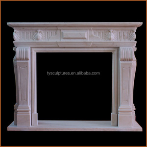 China professional factory made carved white marble freestanding fireplace mantel shelf
