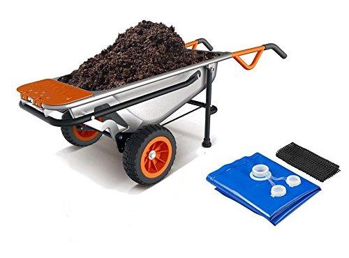 WG050 WORX 8-in-1 Aerocart Wheelbarrow Garden Yard Cart + FREE Water Hauler