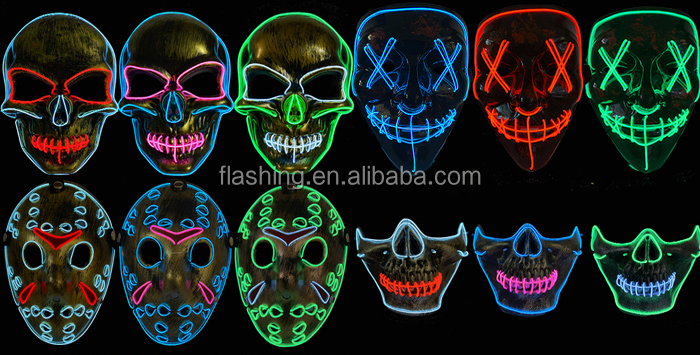 Hot Selling EL Music activated Mask,Neon Mask,neon wire Mask