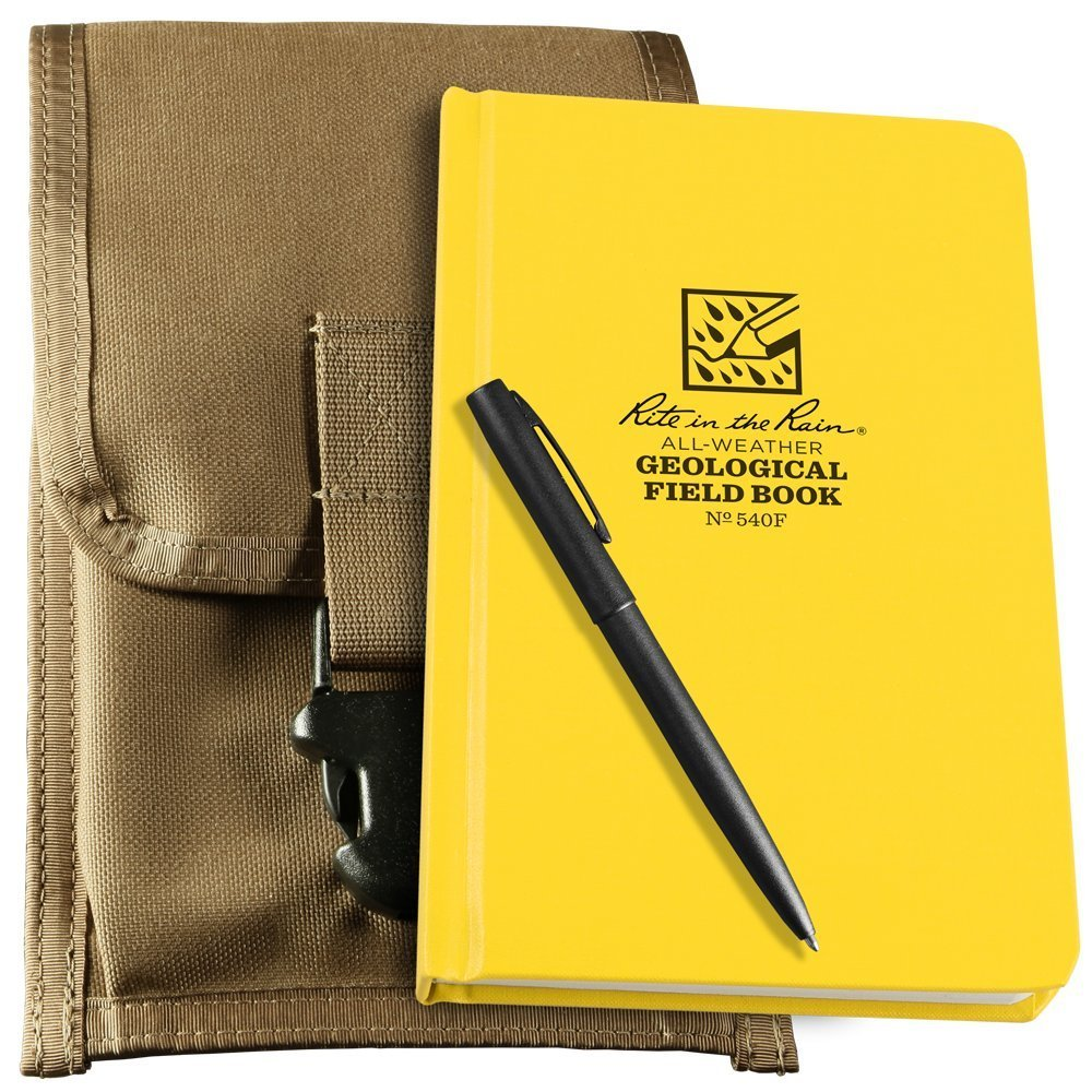 Rite in the Rain All-Weather Geological Kit: Tan CORDURA Fabric Pouch Cover, Geological Hard Cover Notebook, and an All-Weather Pen (No. 540F-KIT)