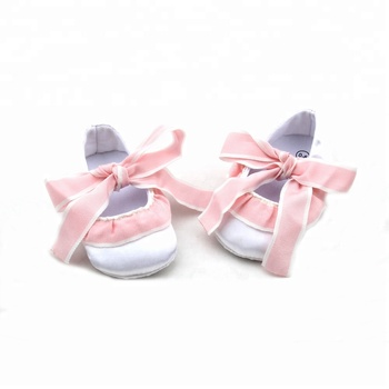 Hot-Sell Christening Baby Shoes Cute Stock Cotton Lace White Satin Upper Baptism Baby Shoes