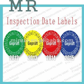 Inspection date labelscustom date round warranty stickersteamper evident date seal label