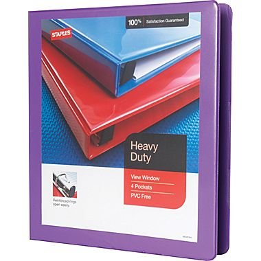 Get Quotations Staples Heavy Duty 1 Inch Slant D 3 Ring View Binder Purple