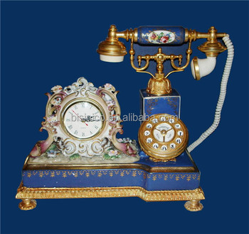 Antique Curio Ceramic Telephone Table Clock, Gold Plated Brass Footed Desk  Clock, Collectable Home