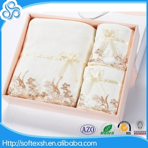 new products 2016 Super Cheap wholesale new design Embroidery lace bath towel with box pack