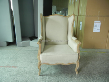 Hoge rugleuning stof fauteuil franse woonkamer houten stoel met