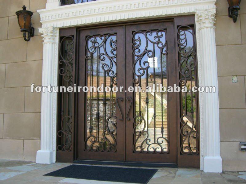 2015 los m s populares principal luz lateral doble de for Modelos de puertas de hierro con vidrio