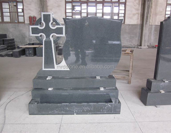 Low cost polished cross granite tombstone and monument