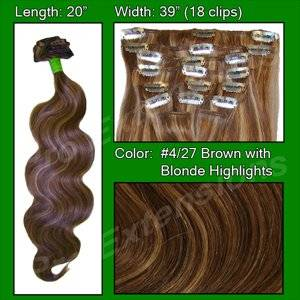 "Pro Extensions Body Wave 20"" x 39"" #4/27 Dark Brown w Golden Blonde Highlights 100% Clip on in Human Hair Extensions"