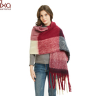 Women's Fashion Winter Large Trendy Plaid Printed Long Scarf Shawl with Fringe