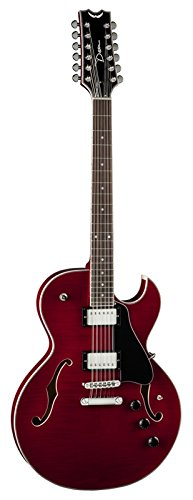 Dean COLT FM12 SC Colt Flame Top 12-String Semi-Hollow-Body Electric Guitar with Piezo, Scary Cherry