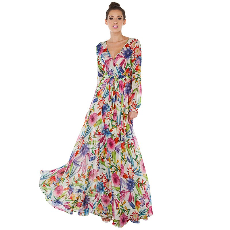 f92fe58eb70a5 2017 New Summer Style Tropical Floral Print Floor-Length Bohemian Dresses  Sexy V Neck Slim Lantern Sleeve Beach Dress